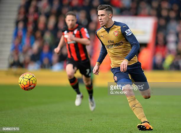Arsenal's Brazilian defender Gabriel chases the ball during the English Premier League football match between Bournemouth and Arsenal at the Vitality...