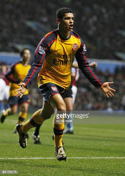 Arsenal's Brazilian midfielder Denilson celebrates scoring a goal against Aston Villa during their Premier League match on December 26 2008 at Villa...