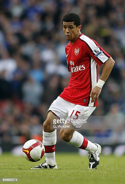 Arsenal's Brazilian Midfielder Denilson is pictured during their Premier League football match against Everton at the Emirates Stadium London on...