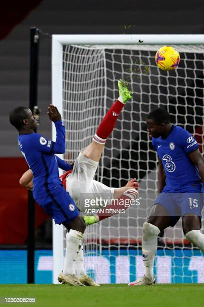 Arsenal's Brazilian striker Gabriel Martinelli attempts an overhead kick during the English Premier League football match between Arsenal and Chelsea...