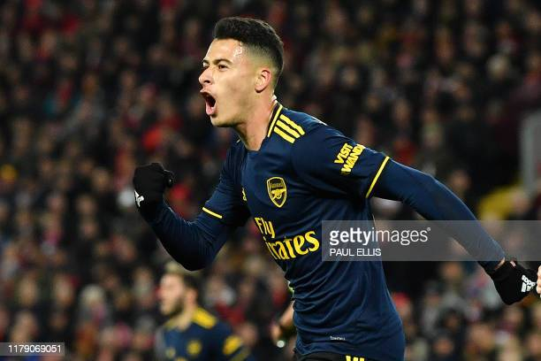 Arsenal's Brazilian striker Gabriel Martinelli celebrates scoring his team's second goal during the English League Cup fourth round football match...