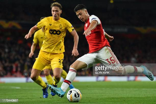 Arsenal's Brazilian striker Gabriel Martinelli crosses the ball during the UEFA Europa League Group F football match between Arsenal and Standard...