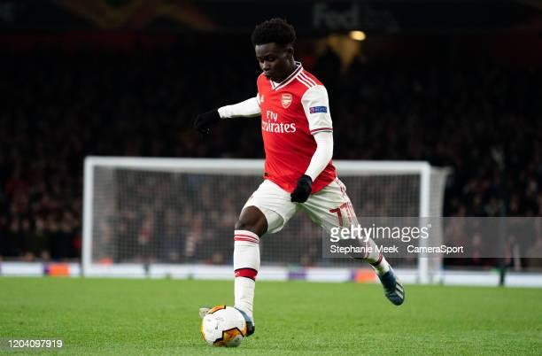 Arsenal's Bukayo Saka during the UEFA Europa League round of 32 second leg match between Arsenal FC and Olympiacos FC at Emirates Stadium on February...