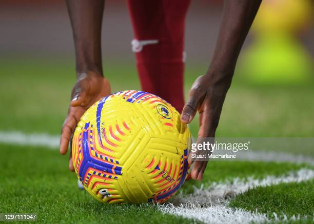 Arsenal's Bukayo Saka places the ball for a corner during the Premier League match between Arsenal and Newcastle United at Emirates Stadium on...