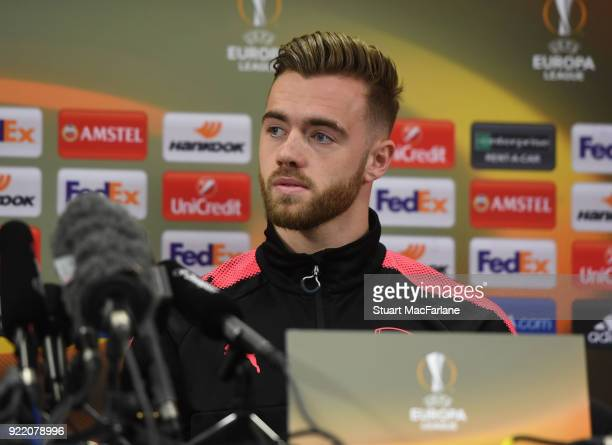 Arsenal's Calum Chambers attends a press conference at London Colney on February 21 2018 in St Albans England
