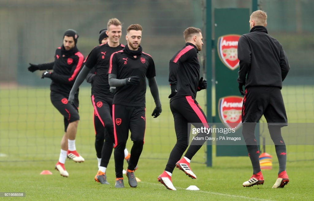 Arsenal's Calum Chambers during the training session at London Colney, Hertfordshire.