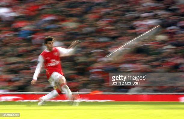Arsenal's Cesc Fabregas clears the ball during their Fifth Round FA Cup game against Blackburn Rovers at the Emirates Stadium London 17 February 2007...