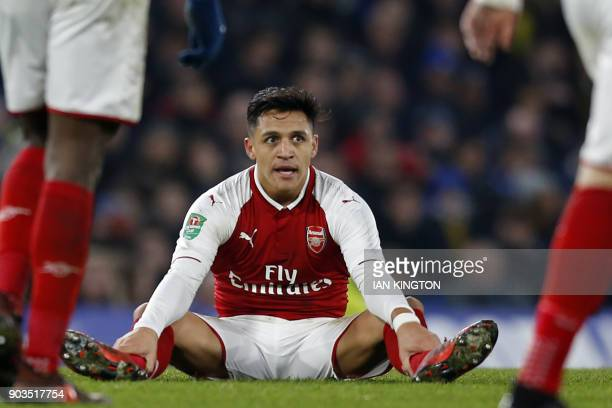 Arsenal's Chilean striker Alexis Sanchez during the English League Cup semifinal first leg football match between Chelsea and Arsenal at Stamford...