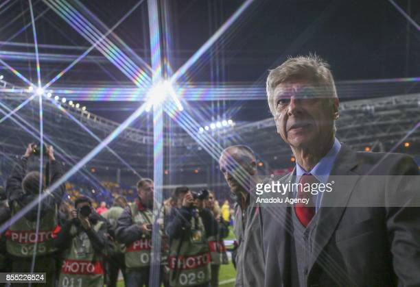 Arsenal's coach Arsene Wenger is seen during the UEFA Europa League group H match between BATE Borisov and Arsenal FC at the BorisovArena stadium in...