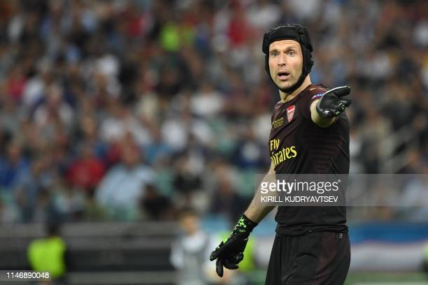 Arsenal's Czech goalkeeper Petr Cech reacts during the UEFA Europa League final football match between Chelsea FC and Arsenal FC at the Baku Olympic...