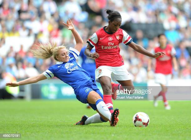 Arsenal's Danielle Carter is fouled by Everton's Alex Greemwood during the match at Stadium mk on June 1 2014 in Milton Keynes England