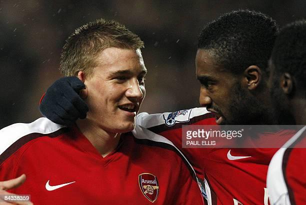 Arsenal's Danish forward Nicklas Bendtner celebrates scoring against Hull City during their English Premier League football match on January 17, 2009...