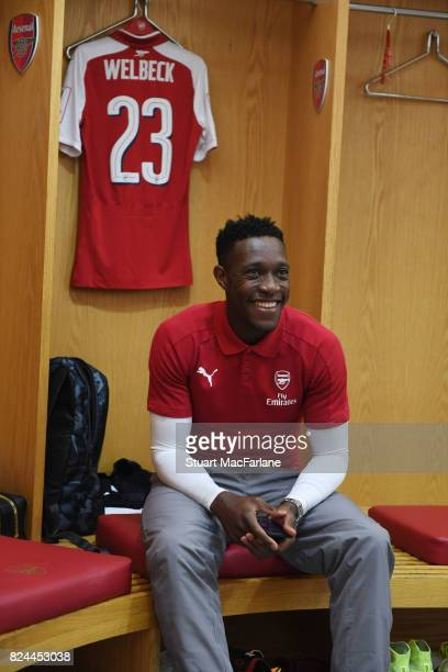 Arsenal's Danny Welbeck in the home changing room before the Emirates Cup match between Arsenal and Seville at Emirates Stadium on July 30 2017 in...