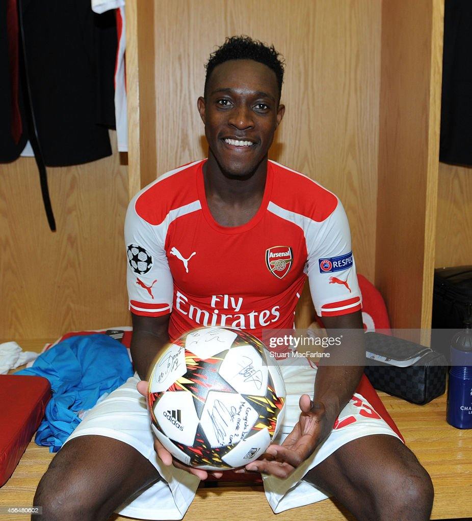 Arsenal's Danny Welbeck with the matchball after his hat-trick in the Champions League match between Arsenal and Galatasaray at Emirates Stadium on October 1, 2014 in London, United Kingdom.