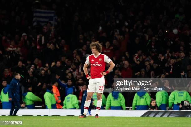 Arsenal's David Luiz during the UEFA Europa League round of 32 second leg match between Arsenal FC and Olympiacos FC at Emirates Stadium on February...