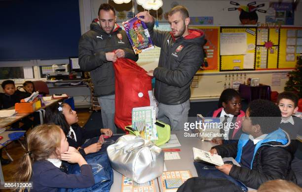 Arsenal's David Ospina and Jack WIlshere visit the Blessed Sacrament Primary School on December 5 2017 in London England