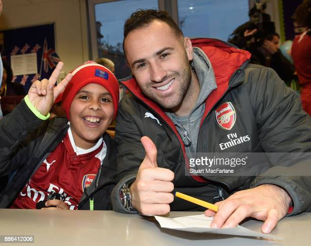 Arsenal's David Ospina visits the Blessed Sacrament Primary School on December 5 2017 in London England