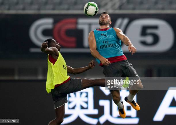 Arsenal's defender Sead Kolainac participates in a training session ahead of the International Champions Cup football match between Bayern Munich and...