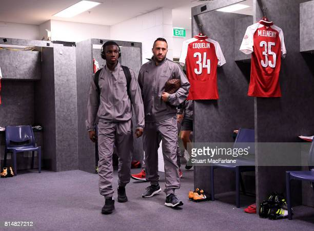 Arsenal's Eddie Nketiah and David Ospina in the changing room before the match between the Western Sydney Wanderers and Arsenal FC at ANZ Stadium on...