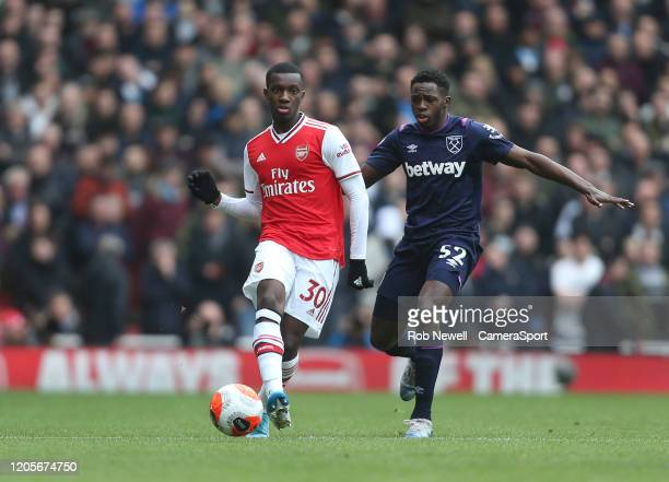 Arsenal's Eddie Nketiah and West Ham United's Jeremy Ngakia during the Premier League match between Arsenal FC and West Ham United at Emirates...