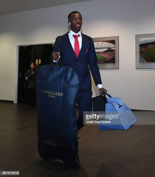 Arsenal's Eddie Nketiah before the Premier League match between Arsenal and Crystal Palace at Emirates Stadium on January 20 2018 in London England