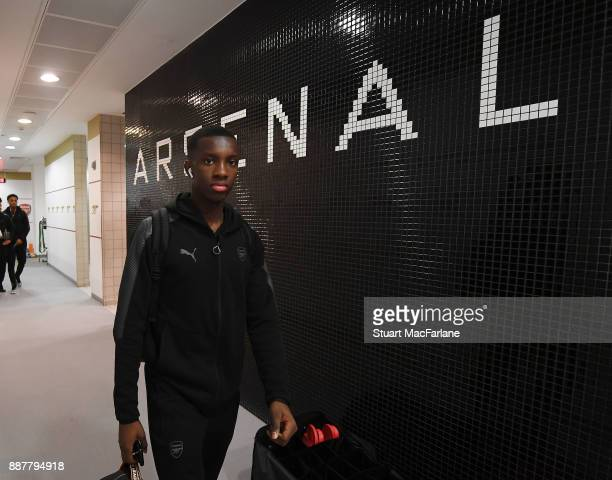 Arsenal's Eddie Nketiah in the changing room before the UEFA Europa League group H match between Arsenal FC and BATE Borisov at Emirates Stadium on...