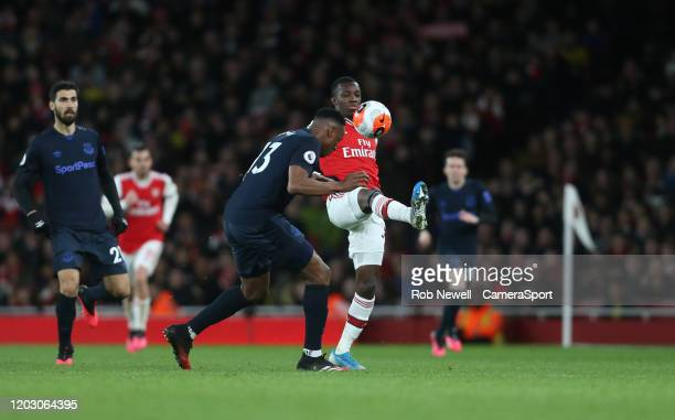 Arsenal's Edward Nketiah and Everton's Yerry Mina during the Premier League match between Arsenal FC and Everton FC at Emirates Stadium on February...