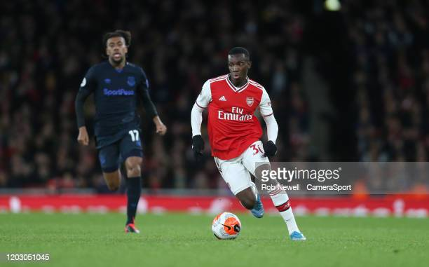 Arsenal's Edward Nketiah during the Premier League match between Arsenal FC and Everton FC at Emirates Stadium on February 23 2020 in London United...