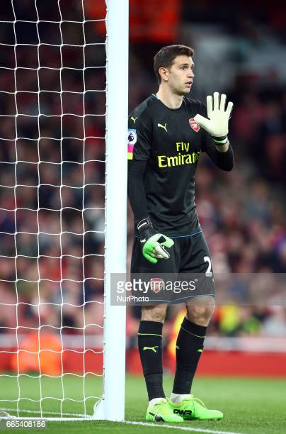 Arsenal's Emiliano Martinez during the EPL Premier League match between Arsenal and West Ham United at The Emirates London England on 05 April 2017