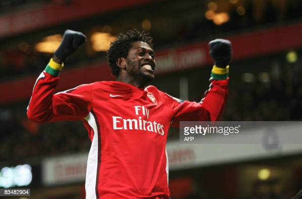 Arsenal's Emmanuel Adebayor celebrates scoring the goal to make it 31 against Tottenham Hotspur during their Barclays Premiership football match at...