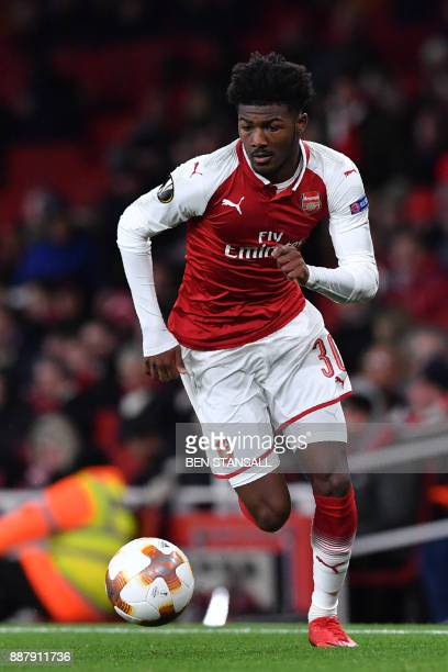 Arsenal's English midfielder Ainsley MaitlandNiles controls the ball during the Europa League Group H stage football match between Arsenal and Bate...