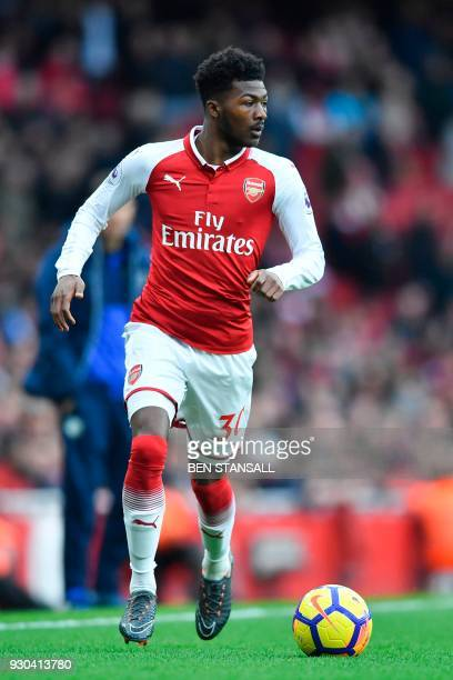 Arsenal's English midfielder Ainsley MaitlandNiles plays during the English Premier League football match between Arsenal and Watford at the Emirates...