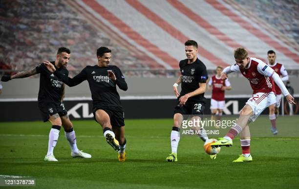 Arsenal's English midfielder Emile Smith Rowe controls the ball during the UEFA Europa League 32 Second Leg football match between Arsenal and...