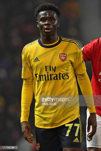 Arsenal's English striker Bukayo Saka is pictured during the English Premier League football match between Manchester United and Arsenal at Old...