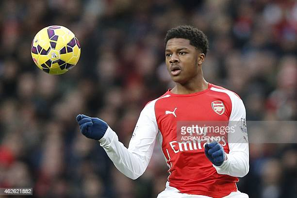 Arsenal's English striker Chuba Akpom controls the ball during the English Premier League football match between Arsenal and Aston Villa at the...