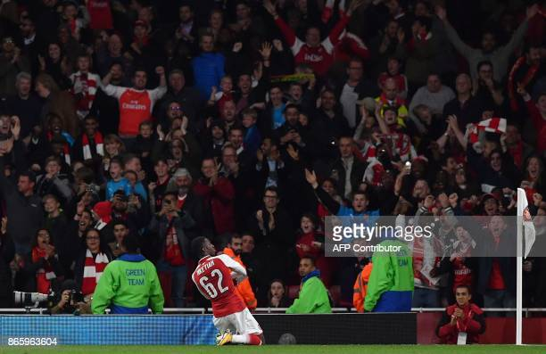 Arsenal's English striker Eddie Nketiah celebrates scoring his team's second goal during the English League Cup fourth round football match between...
