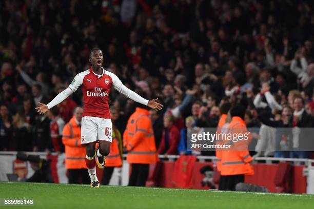 Arsenal's English striker Eddie Nketiah celebrates scoring his team's second goal in the first half of extra time during the English League Cup...