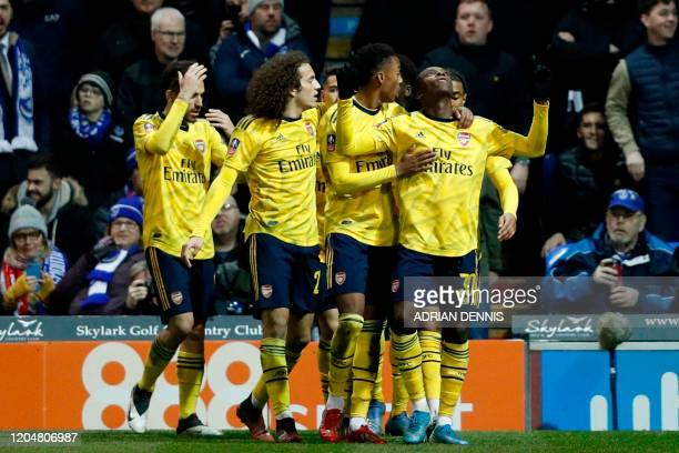 Arsenal's English striker Eddie Nketiah celebrates scoring their second goal during the English FA Cup fifth round football match between Portsmouth...