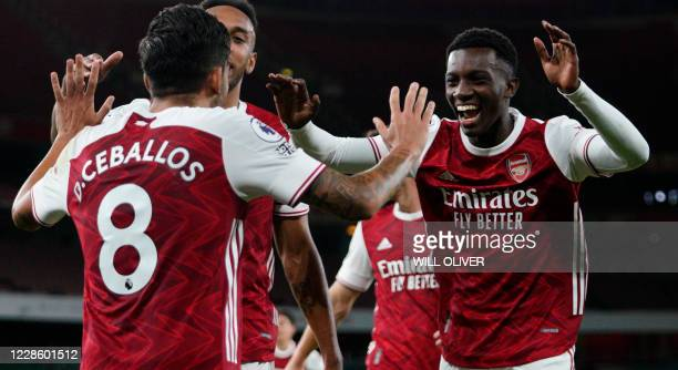 Arsenal's English striker Eddie Nketiah celebrates scoring their second goal during the English Premier League football match between Arsenal and...