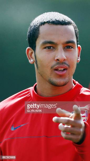 Arsenal's English striker Theo Walcott takes part in a training session at London Colney, north of London, on April 28, 2009. Arsenal will take on...
