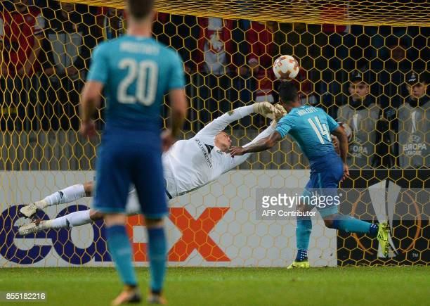 Arsenal's forward from England Theo Walcott scores a goal during the UEFA Europa League Group H football match between FC BATE Borisov and Arsenal FC...
