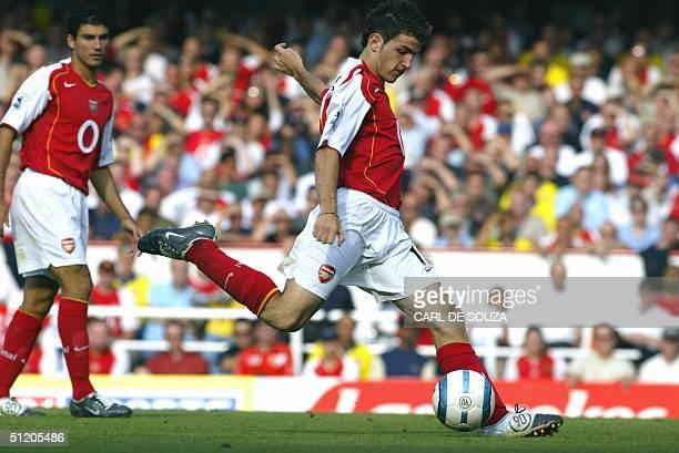Arsenal's Francesco Fabregas takes a shot at goal during a Premiereship match against Middlesborough 22 August 2004 Arsenal won 53