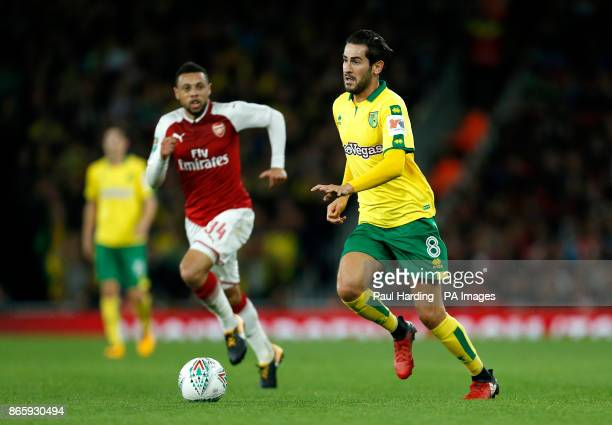 Arsenal's Francis Coquelin and Norwich City's Mario Vrancic battle for the ball during the Carabao Cup Fourth Round match at the Emirates Stadium...