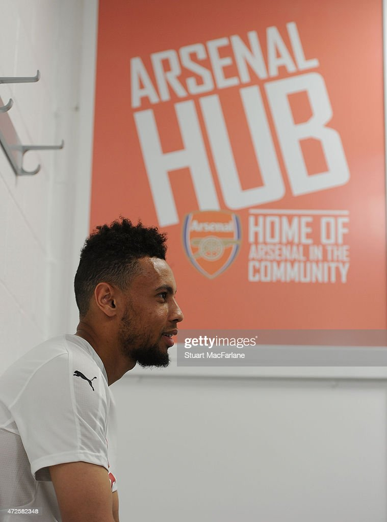 Arsenal's Francis Coquelin visits the Arsenal Community Hub at Emirates Stadium on May 8, 2015 in London, England.