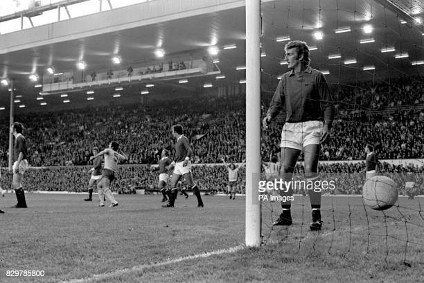 Arsenal's Frank McLintock celebrates scoring his team's only goal as Manchester United goalkeeper Alex Stepney looks around bemusedly Manchester...