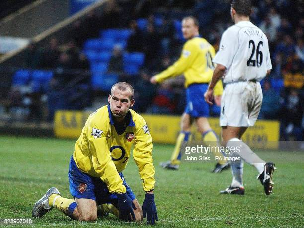 Arsenal's Freddie Ljungberg after missing a goal scoring opportunity against Bolton Wanderers during their Barclaycard Premiership match at the...