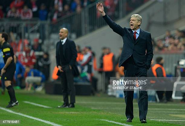 Arsenal's French manager Arsene Wenger and Bayern Munich's Spanish head coach Pep Guardiola react during the UEFA Champions League last 16 secondleg...