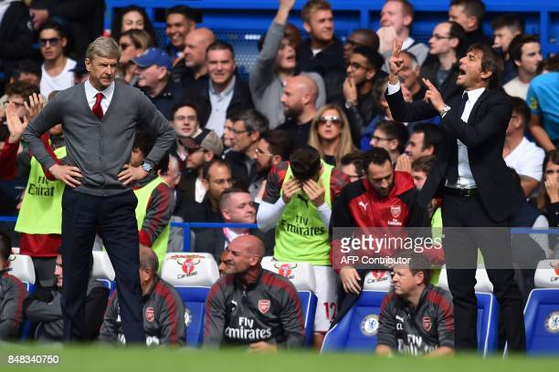Arsenal's French manager Arsene Wenger and Chelsea's Italian head coach Antonio Conte gesture on the touchline during the English Premier League...