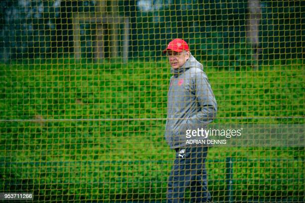 Arsenal's French manager Arsene Wenger arrives for a training session at the club's complex in London Colney on May 2 2018 on the eve of their UEFA...