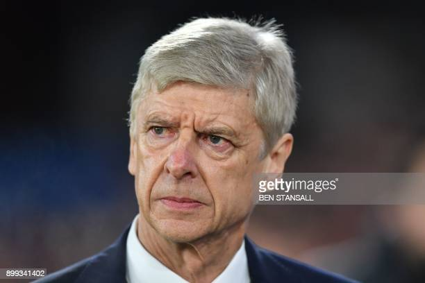 Arsenal's French manager Arsene Wenger arrives for the English Premier League football match between Crystal Palace and Arsenal at Selhurst Park in...
